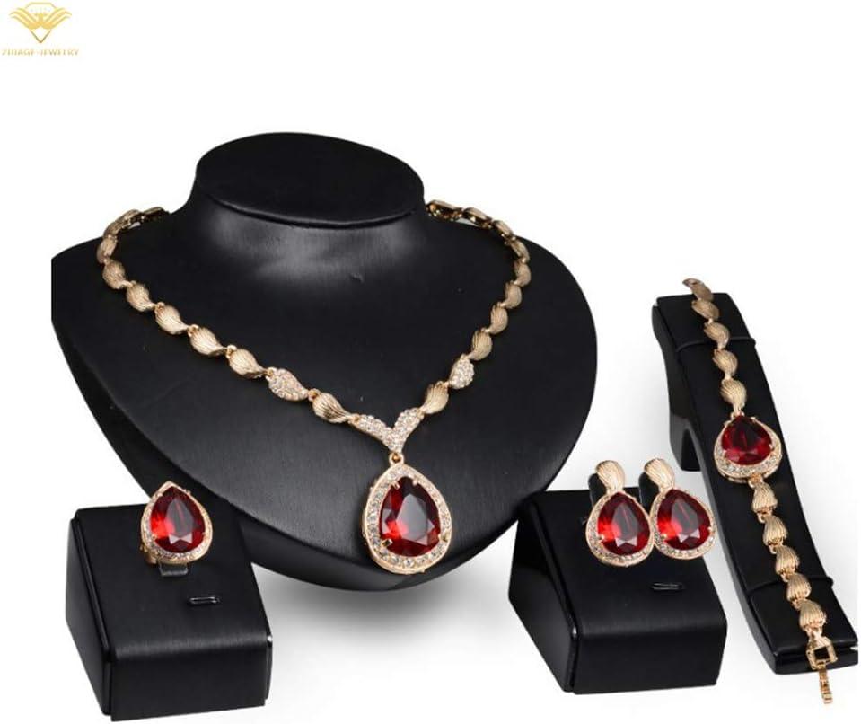 ZIJIAGE-Jewelry Conjuntos de Joyas de Zafiro en Forma de Gota de Agua para Mujeres Piedras Preciosas Rojas Anillo Pendientes Collar Pulsera Regalo de Boda,Rojo