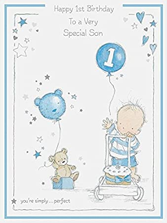 Large Son 1st Birthday Card Amazoncouk Office Products