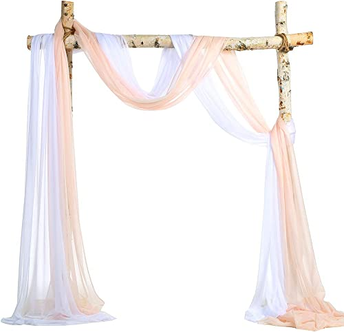 SHERWAY 2 Panels Sheer Wedding Arch Drapes, Party Backdrop Curtain Panels, Ceremony Reception Swag Decoration 27 x 216 Inch, Blush Peach White