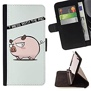 DEVIL CASE - FOR Samsung Galaxy A3 - Funny Don't Mess With The Pig - Style PU Leather Case Wallet Flip Stand Flap Closure Cover