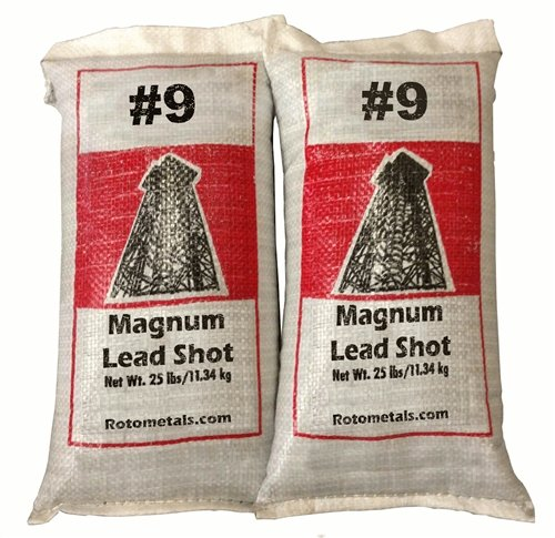Magnum Lead Shot #9 50 Lbs 2-25 Pound Bags by Roto Metals