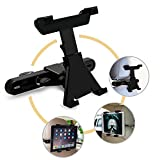 Car Headrest Mount Holder for iPad, iPad Air, iPad Mini, Samsung and 7-10 inch Tablets, 360 Degree Rotation