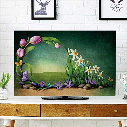 "Price comparison product image PRUNUS Cord Cover for Wall Mounted tv Spring Background for Greeting Card or Cover Mounted tv W20 x H40 INCH/TV 40""-43"""