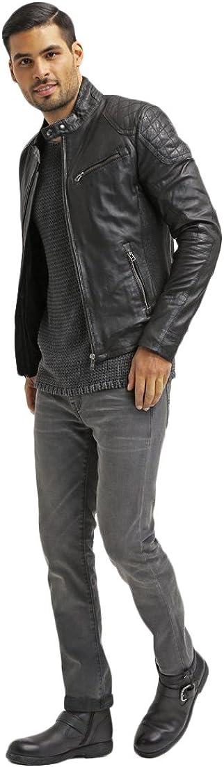 Kingdom Leather Mens Leather Jacket Slim Fit Biker Motorcycle Genuine Lambskin Jacket Coat X1438