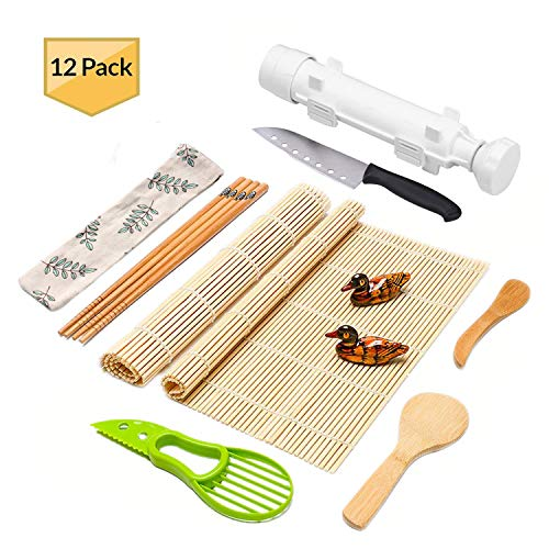 Sushi Making Kit Full Sushi Set for Beginners Sushi Bazooka Maker DIY Sushi Roller Machine with Natural Bamboo Sushi Mats Chopsticks Rice Paddle Spreader, Avocado Slicer, Sushi Knife -12 PACK