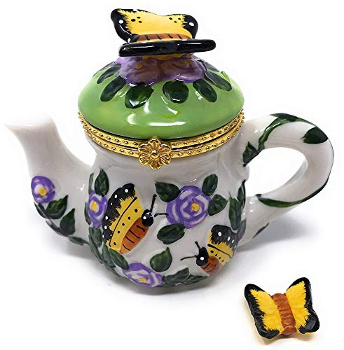 (Art Gifts Yellow Butterfly & Lavender Rose Flowers Teapot 2pc Porcelain Hinged Trinket Box)