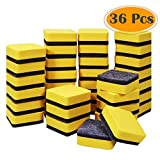 Selizo 36 Pack Magnetic Dry Erase Eraser Mini Whiteboard Eraser for Classroom, Home and Office Supplies (Yellow, 2 x 2 inch)
