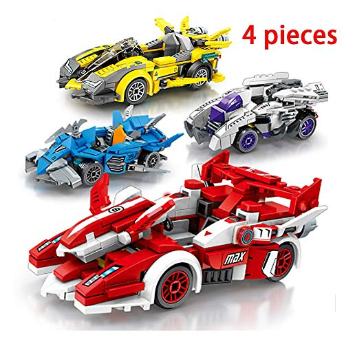 HLDX 4-Piece Car Mobilization Series Racing Car Small Particle Building Blocks Toys Children's Puzzle Assembling Men and Women Birthday Gifts,1
