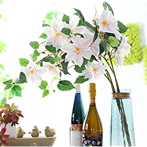 Skyseen 5Pcs Artificial Flowers Clematis Florida Thunb Fake Clematis Florida Plants Wedding, Room, Home, Hotel, Party Decoration (Pink) 111