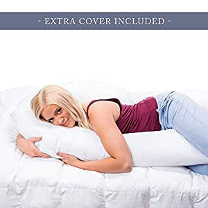 Full Body Pregnancy Pillow - Hypoallergenic Maternity Support Cushion for Pregnant or Nursing Women - Comfortable and Therapeutic - Machine Washable - Bonus Replacement Cover - By ComfySure