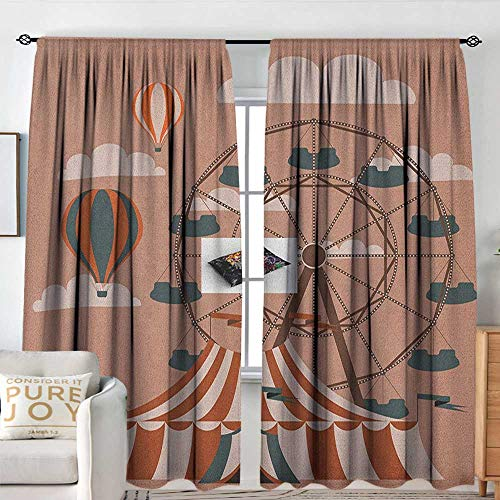 Circus Blackout Window Curtain Ferris Wheel Flying Hot Air Balloons Sky Clouds Fun Holiday Themed Illustration Decorative Curtains for Living Room W 108
