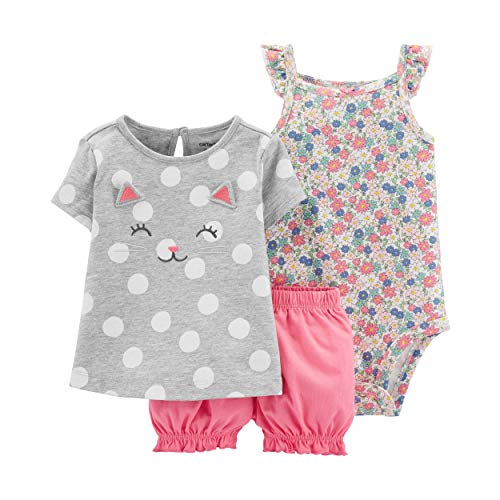 Carter's Baby Girls' 3-Piece Bodysuit & Diaper Cover Sets (3 Months, Heather/Pink Kitty) ()