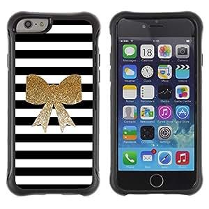 Suave TPU GEL Carcasa Funda Silicona Blando Estuche Caso de protección (para) Apple Iphone 6 PLUS 5.5 / CECELL Phone case / / Black White Golden Bow Feminine /