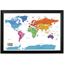 personalized colorful world push pin travel map with black frame and pins 24 x 36