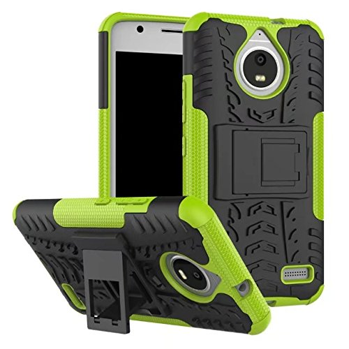 Moto E4 Case, AOSOK [New] [Hot Colors] [Unique] Heavy Duty Dual Layer Hybrid Shock Absorption High Impact Resistant Drop Protection Case Cover With Kickstand Motorola Moto E4 (Green)