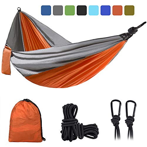 DONGOLO Double & Single Camping Hammock Lightweight Portable Parachute Nylon Hammock Set for Outdoor and Indoor