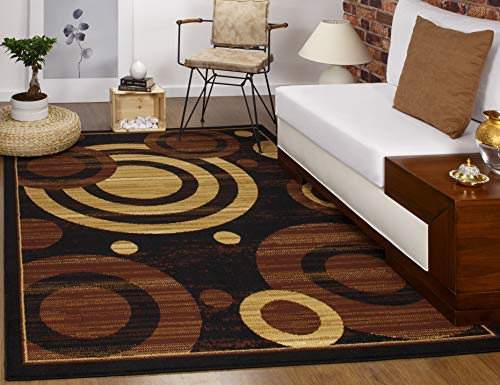 Antep Rugs Kashan King Collection GALAXY Geometric Polypropylene Indoor Area Rug Black and Beige 5' X 7'