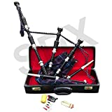 SDX Highland Rosewood Bagpipe Pride of Scotland Full Set Silver Mounts Free Carrying Case with Tutor Book