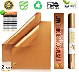 Outdoor Copper Grill Mat (Set of 2) ~ Non Stick, Reusable, Heavy Duty ~ Best BBQ Grill Accessories Mat ~ As Seen On TV ~ Great for Camping and Backyard Grill By JIVSTAR
