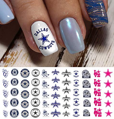 Dallas Cowboys Football Waterslide Nail Art Decals - Salon Quality -
