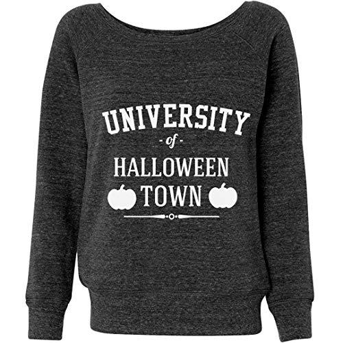 Customized Girl Halloween Town University Grey: Ladies Triblend Wideneck Sweatshirt ()