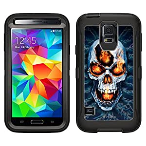Skin Decal for Otterbox Defender Samsung Galaxy S5 Case - Blue Creepy Skull on Black