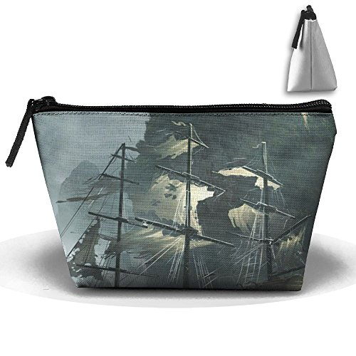 RUNNING BEAN Pirate Ship Makeup Bag Large Trapezoidal Storage Travel Bag Wash Cosmetic Pouch Pencil Holder Zipper Waterproof