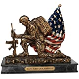 USMC Cold-Cast Bronze Tribute Sculpture: God Bless Our Marines by The Bradford Exchange