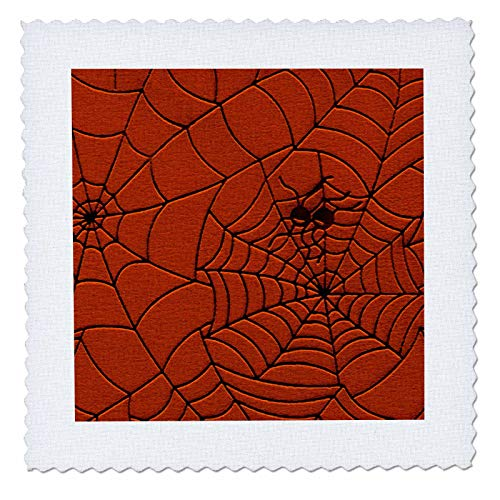 3dRose Sandy Mertens Halloween Designs - Two Spiders on a Web Drawing Pattern in Burnt Orange - 10x10 inch quilt square -