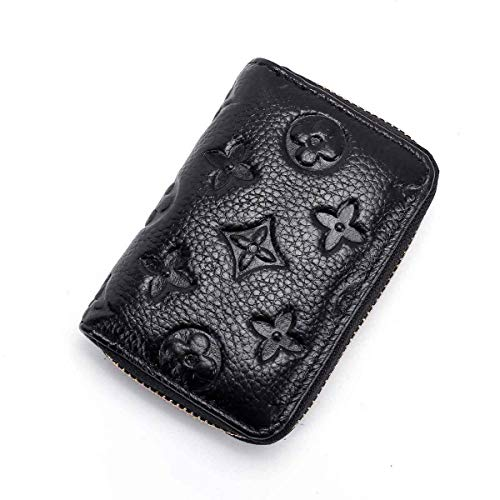 Wallets Credit Black Card - Women RFID Blocking Credit Card Holder Leather Cute Small Zipper Wallet - Black