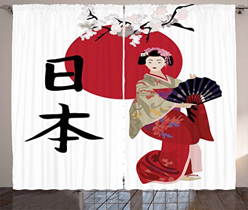 Japan Curtains by Lunarable, Illustration with a Geisha Cherry Blossoms and Kanji Letters Asian Kimono Costume, Living Room Bedroom Window Drapes 2 Panel Set, 108 W X 108 L Inches, Multicolor - Costume Party Theme Letter P