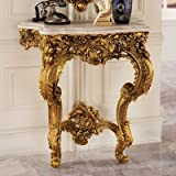 Design Toscano Madame Antoinette Wall Mount Console Table, 35 Inch, Polyresin, Antique Gold