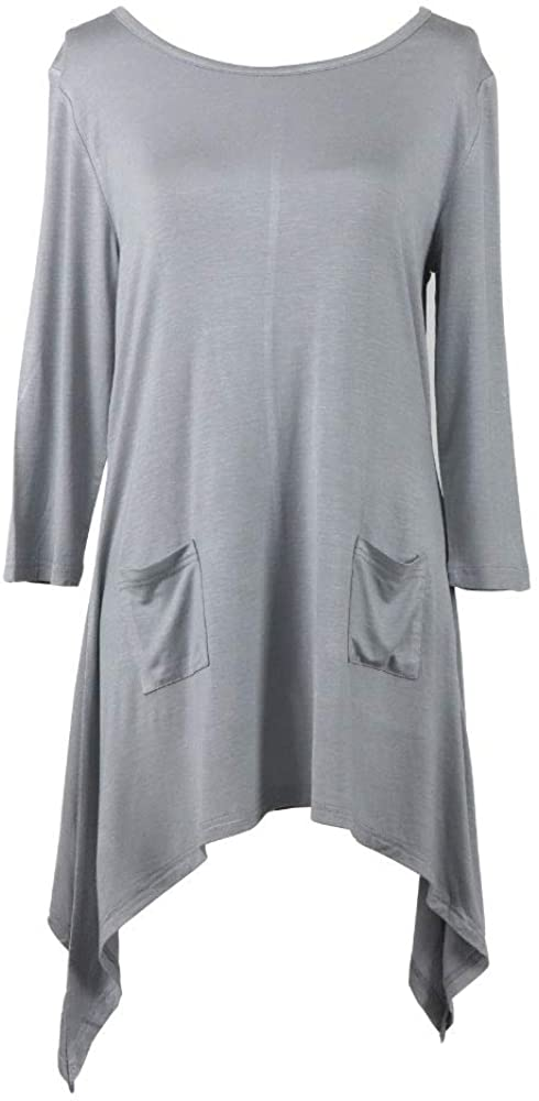 hello mello Lounge Luxe Signature Soft Women's 3/4 Sleeve Solid Sharkbite Tops