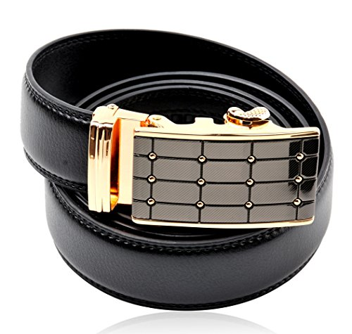 Men's Black Genuine Leather Adjustable Dress Belt, with 35 mm Automatic Ratchet (Designer Style Belt Buckle)