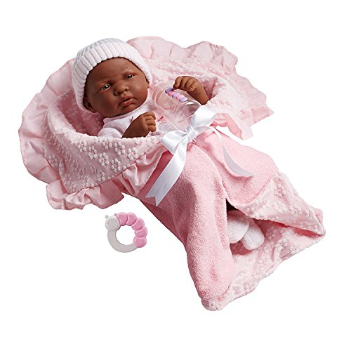 "Search : JC Toys African American La Newborn 15.5"" Soft Body Boutique Baby Doll, Pink Deluxe Gift Set. Made in Spain, Designed by Berenguer"