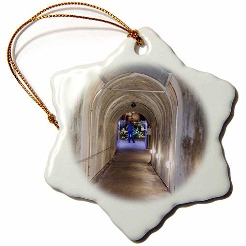 3dRose Danita Delimont - Obersalzberg - Germany, Obersalzberg, former Nazi air-raid bunker, interior 01-3 inch Snowflake Porcelain Ornament (orn_248902_1)