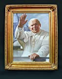 Pope John Paul II waving hand painted oil on canvas, 16 x 20 inches. Made in Italy