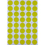 Round Labels Colored Dot Sticker 19mm 3/4 inch - Yellow - 280 Pack by Royal Green