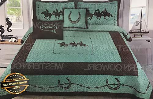 Werrox 5 Piece Western Horse Shoe Texas Star Quilt Bedspread Shams | King Size | Quilt Style ()