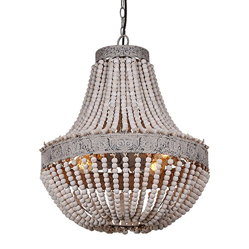 Bead Chandelier - Anmytek Metal and Circular Wood Bead Chandelier Pendant Three Lights Grey White Finishing Retro Vintage Industrial Rustic Ceiling Lamp Light