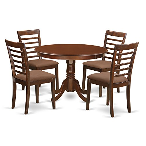 East West Furniture HLML5-MAH-C 5 PC Hartland Set with One Kitchen Table & 4 Cushion Seat Kitchen Chairs in a Spectacular Mahogany Finish