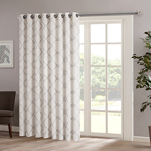 Madison Park Saratoga Room-Darkening Curtain Fretwork Print 1 Window Panel with Grommet Top Blackout Drapes for Bedroom and Dorm, 100x84, Ivory ()