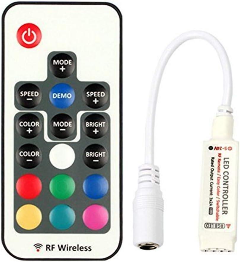 VIPMOON 44 teclas de control remoto inal/ámbrico por infrarrojos con receptor para tira de luz LED RGB 3528 5050 Salidas dobles