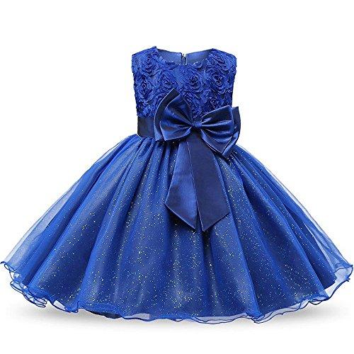 Wedding Pageant Flower Petals Girl Dress with Bow Tie Party Dress(Dark blue-110cm(3 Years)) (Petal Knob Flower Design)