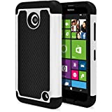 Nokia Lumia 635 Case, Nokia Lumia 630 Case, MagicMobile [Dual Armor Series] Durable [Impact Shockproof Resistant] Double Layer Cover [Hard Shell] + [Flexible Silicone] Case for Nokia Lumia 630 / 635 - Black - White