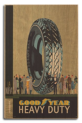 Goodyear - Heavy Duty Vintage Poster (artist: Anonymous) Spain c. 1922 (10x15 Wood Wall Sign, Wall Decor Ready to Hang) by Lantern Press