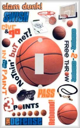 Basketball Montage Decorative Switchplate (Basketball Switchplate)
