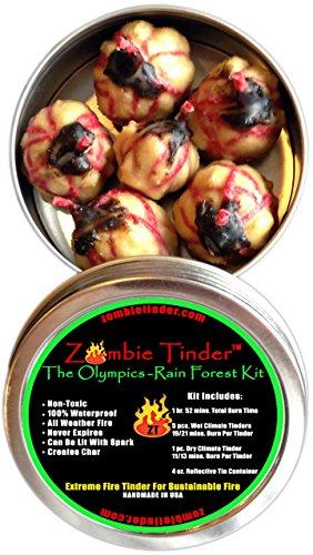 Zombie Tinder The Olympics: Rain Forest Kit - Extreme Fire Starter & Tinder - Over 112 Minutes of Total Burn Time - Easy Light Wick - Spark Light