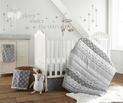 (Levtex Baby Everett Grey and White Woodland Animals 5 Piece Crib Bedding Set, Quilt, 100% Cotton Crib Fitted Sheet, Dust Ruffle, Diaper Stacker and Large Wall Decals)