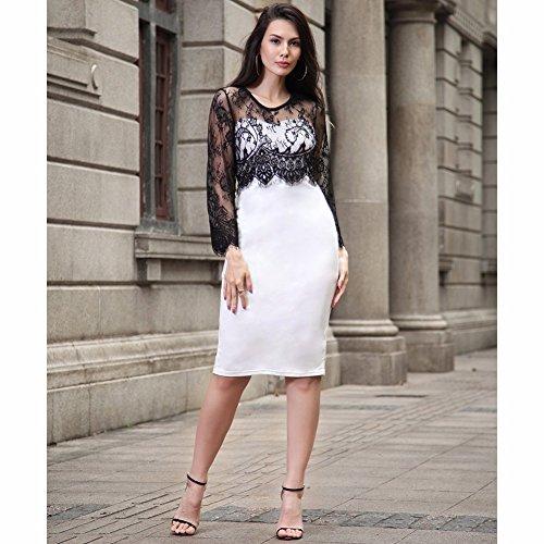 Mujeres 3/4 de manga de encaje Bodycon Midi vestido Negro / blanco